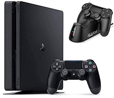 2020 Playstation 4 PS4 Slim 1TB Console Holiday Bundle with Hubxcel Charging Dock Bundle