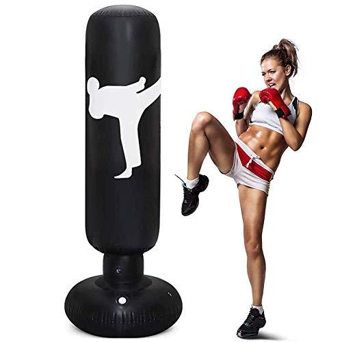 160cm Sac de Frappe sur Pied pour Enfant Adulte Punching Ball Sac de Boxe Gonflable pour Karaté, Fitness, MMA (Noir)