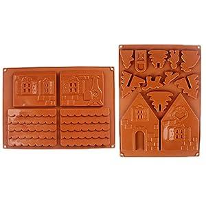 inherited 2 pcs Gingerbread Chocolate Casa Molde, Casa de Pan de Jengibre de Navidad Molde de Pastel de Chocolate de Silicona DIY Galletas Herramientas de La Hornada