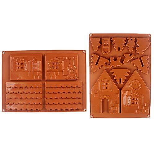 inherited 2 pcs Weihnachten Lebkuchenhaus Silikonform, Schokolade Kuchenform DIY Kekse Backenwerkzeuge für Urlaub Süßigkeiten, Kuchen, Kekse, Muffins und Gelee etc
