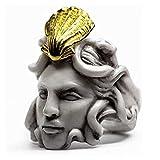 CeFoney Vintage Skulptur Ring Mythologie Medusa Zeus Ring Vintage Skulptur Königin Ring Geschenke für Frauen und Männer, übertriebener alter Mann Form Ring 7 Größen verfügbar