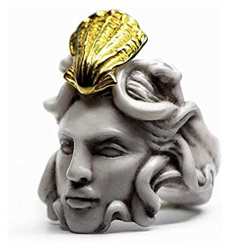 CeFoney Vintage Skulptur Ring, Mythologie Medusa Zeus Ring Vintage Skulptur Königin Ring Geschenke für Frauen und Männer, übertriebener alter Mann Form Ring 7 Größen erhältlich
