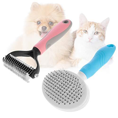 gigitube 2 Stück Hundebürste, Katzenbürste Selbstreinigende Unterfellbürste Hunde Tierhaarbürste Unterfellbürste für Hunde und Katzen Hundepflege Unterfellbürste