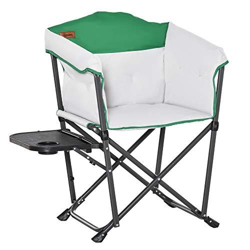 Outsunny Campingstuhl Klappstuhl Regiestuhl Tisch mit Getränkehalter Tragbar Oxford-Gewebe 83 x 64 x 90 cm Weiß+Grün
