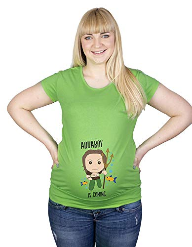 Colour Fashion Maternité T-Shirt Superhero Aquaman Imprimé Doux Grossesse Coton Hypoallergénique - Vert Haricot, XL