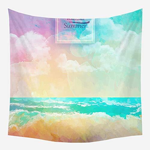 Sonne Meer Tapisserie Ozean Strand Wandbehang Wasser Landschaft Strand blaue Wolke blau Schaum Wandbehang Hintergr& Stoff A2 73x95cm