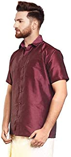 SJS-Men's Half Sleeve Solid Art Silk Shirt (Coffee Maroon, 36)
