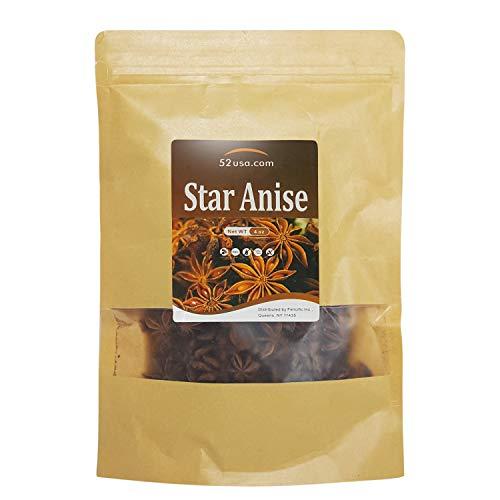 52USA Star Anise Seeds (Anis Estrella) 4OZ, Whole Chinese Star Anise Pods, Dried Anise Star Spice, Star Anise Seed Pods Whole Bulk