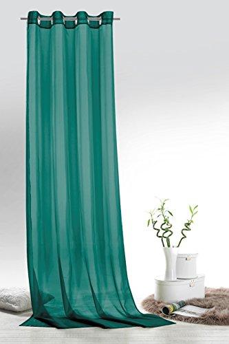 Fashion&Joy - 1 Paar Ösenschals Voile einfarbig Petrol transparent Vorhänge Typ418