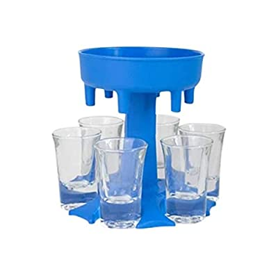 6 Shot Glass Dispenser and Holder -Dispenser For Filling Liquids, Shots Dispenser, Multiple 6 Shot Dispenser, Bar Shot Dispenser, Cocktail Dispenser, Dispenser With Slogan (Blue With 6PCS Cup)