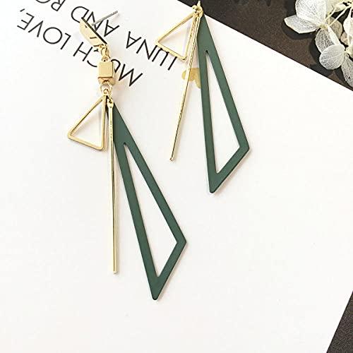chenhe Pendientes niña hipoalergenicos,Tamaño triángulo Sabio, Pendientes, Temperamento Simples Accesorios Largos Pendientes Pendientes de joyería-Verde