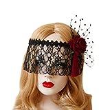 Lurrose Vintage Noir Dentelle Voile Bandeau Floral Rose Demi Visage Masque Pour Les Yeux Noir Point Dentelle pour Halloween Costume Parti Cosplay