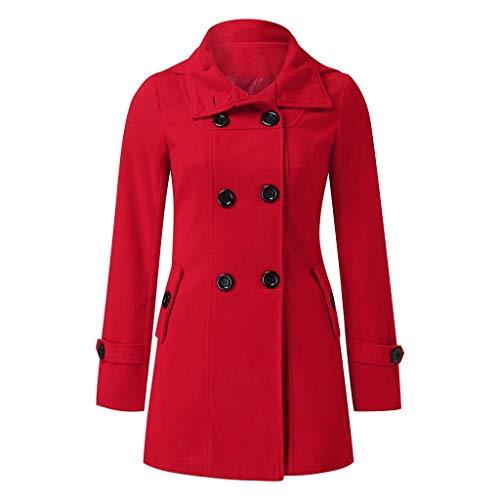 PLOT Damen Mantel Elegant Einfarbig Klassischer Trenchcoat Lang Mode Frauen Herbst Winter Warm Windbreaker mit Kapuze Wollmantel Wintermantel Outwear Coat Doppelten Breasted