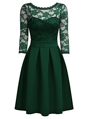 Miusol Vintage 1940s Encaje Fiesta Vestidos para Mujer Verde Large
