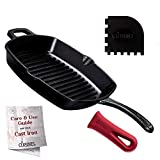 Cuisinel Cast Iron Grill Pan - Square 10.5'-Inch Pre-Seasoned Skillet + Handle Cover + Pan Scraper - Grille, Firepit, Stovetop, Induction Safe - Indoor/Outdoor - Great for Grilling, Frying, Sautéing