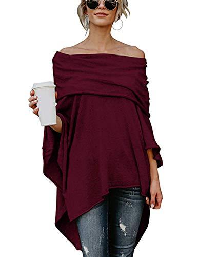 BUOYDM Mujer Camiseta Largos de Mangas Largas de Murciélago Irregular Casual Pullover Camisa Sueltas Tops Vino Tinto L