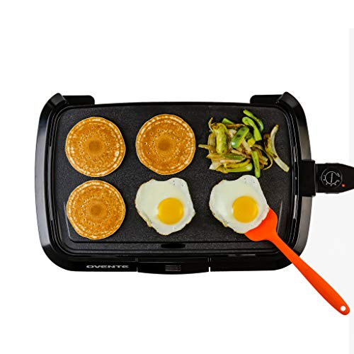 Ovente Electric Indoor Kitchen Griddle 16 x 10 Inch Nonstick Flat Cast Iron Grilling Plate, 1200 Watt with Temperature Control and Oil Drip Tray Perfect for Cooking Pancake, Breakfast, Black GD1610B