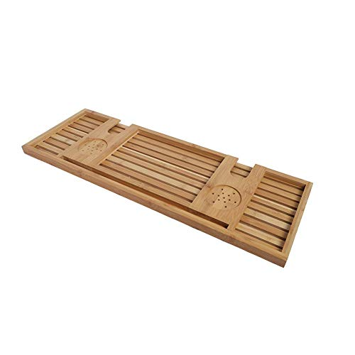 Zouminy Bad SPA Modern houten bamboe bamboe badkuip opslagrek organisator houder voor wijnglas, telefoon, handdoek, dranken