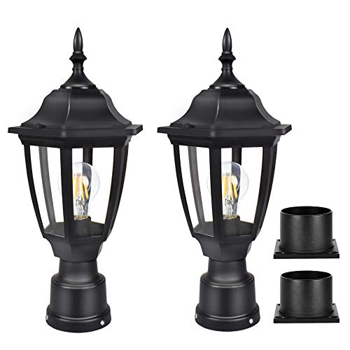FUDESY Outdoor Post Lights, Electric Exterior Lamp Post Light Fixture with Pier Mount Base, LED Bulb Included, Anti Corrosion Black Plastic Materials, 2-Pack Pole Lanterns for Garden, Patio, Pathway