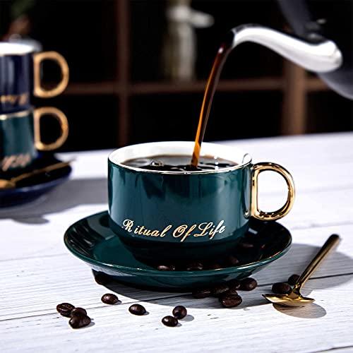 Cappuccino Tassen mit Unterteller, Espressotassen aus Porzellan f¨¹r Tee Kaffee Cappuccino, 240 ml Kaffee-Tassen für Frau Mann Geburtstag Valentinstag Muttertag Vatertag (Dunkelgrün)