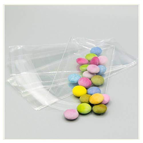VIRSUS 100 bustine cellophane con Aletta 6x10+3cm Sacchetti per Alimenti Buste per Confetti con Chiusura spessore 30 micron