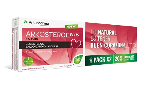 Arkopharma Arkosterol Plus Levadura Roja de Arroz + Q10 Pack 60 Cápsulas | Monacolina K |Coenzima Q10 | Solución Natural para Controlar el Colesterol |100% vegetal |1 Cápsula al Día