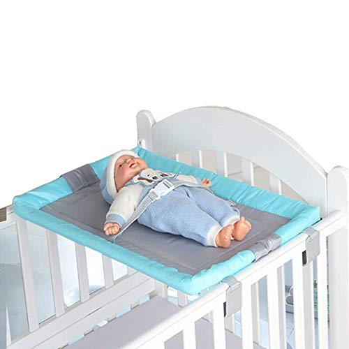 LNDDP Folding Changing Pad Cover with Safety Straps, Portable Changing Table for Infant Newborn - Blue