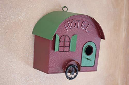 Posiwio nestkast, caravan, hotel, vogelhuisje, rood/groen om op te hangen, vogelhuisje