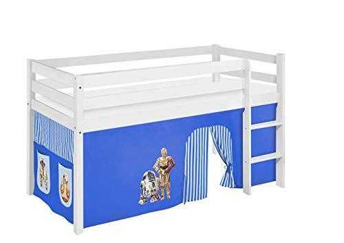 Lilokids Spielbett Jelle Star Wars, Hochbett mit Vorhang Kinderbett, Holz, blau, 198 x 98 x 113 cm