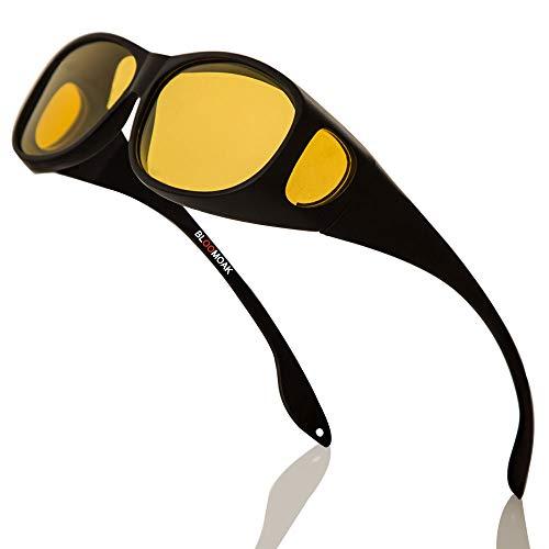 Bloomoak Nachtsichtbrille für Männer & Frauen Brillenträger geeignet / umlaufende Korrekturbrillen / polarisierte gelbe Linse / blendfreier UV 400-Schutz / Geschenkverpackung