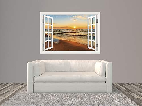 Oedim Vinilo Ventana Playa  200 x 140 cm   Adhesivo Incluido   Decoracion Habitación   Pegatina Adhesiva Diseño Profesional