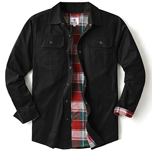 Men's Heavyweight Canvas Flannel Lined Shirt Jacket (Black, Small)