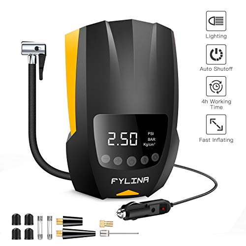 FYLINA Digital Tyre Inflator Car Pump With Pressure Gauge, 4-Hour Continuous Working Time &LED...