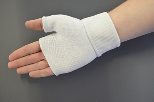 Praxis Palm Hand Wrist Thumb Support Lightweight Breathable Compression Bandage Pain Relief Comfortable F1 MEDIUM WHITE