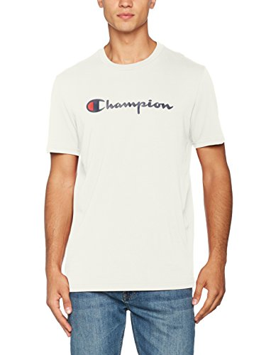Champion Herren Classic Logo T-Shirt, Dunkelweiß ES001, L