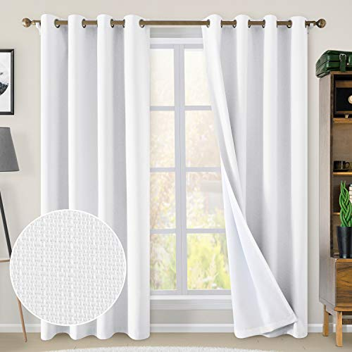 HOMEIDEAS Linen Blackout Curtains 52 x 84 Inches Long 100% Blackout Textured Curtains Drapes Thermal Insulated Faux Linen Grommet Curtains Burlap Fabric for Bedroom Living Room, 2 Panels, White