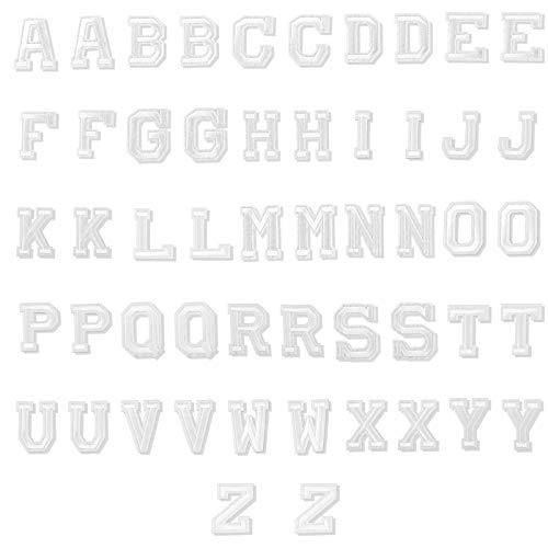 LUTER 52 Stück Aufbügeln von Buchstabenpatches Alphabet Applique Patches Nähen Sie Applikationen mit Gestickten A-Z Letter Dekorativen Reparaturpatches für Hüte Schuhe Taschen (Weiß)