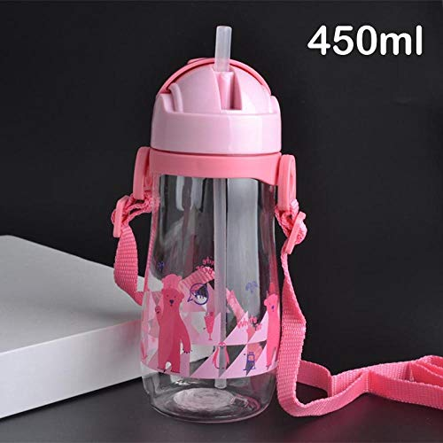 NO BAND 230 / 450ML Fütterungsbecher Babyflasche mit Strohhalm Tragbares Seil auslaufsichere Kinderbecher Plastikflasche für Kinder Trinkwasser-450ml_Pink_450ml