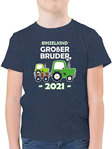 Geschwister Bruder - Einzelkind Großer Bruder 2021 Traktor weiß - 104 (3/4 Jahre) - Dunkelblau Meliert - Geschenk - F130K - Kinder Tshirts und T-Shirt für Jungen