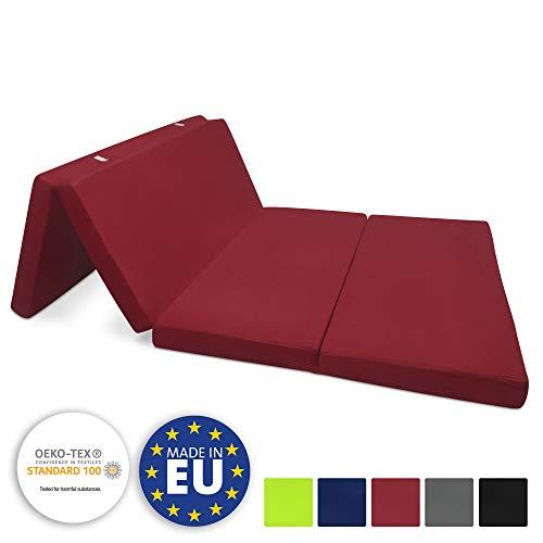 Beautissu Colchón Plegable Campix 120 x 195 x 7 cm - Cómodo y Ahorra Espacio - con Funda de Microfibra - Rojo Oscuro