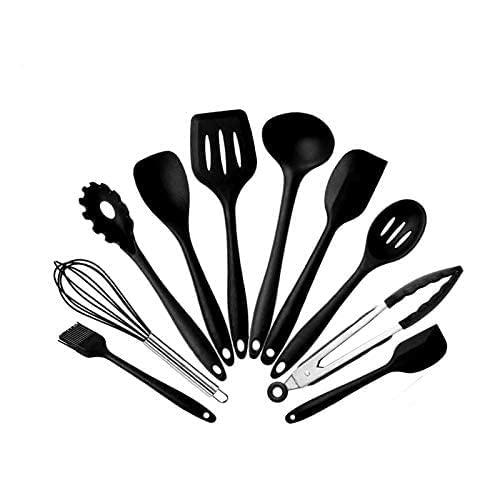 Silicone Kitchen Utensils Set, Black Kitchen Utensils 10 Piece,HKISIT Non-Stick Heat Resistant Serving Utensils For Cooking,Baking Utensils,Silicone Kitchen Tools.