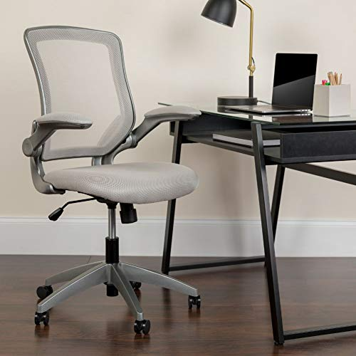 Flash Furniture Mid-Back Gray Mesh Swivel Ergonomic Task Office Chair with Gray Frame and Flip-Up Arms, BIFMA Certified