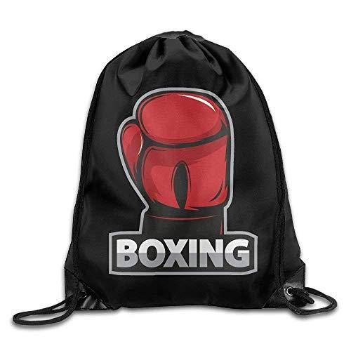 JIMSTRES Drawstring Bag Gym Bag Travel Backpack, Boxing Red White Black, Cute Gym Backpacks For Teen Kids