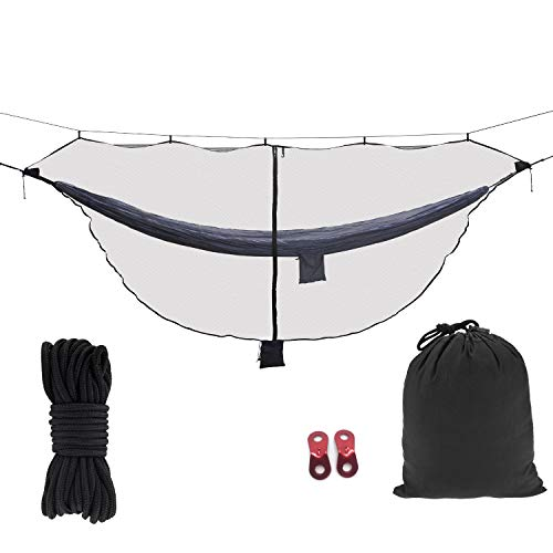 Mosquito net for Camping hammock, Compact Lightweight Hammock Netting, 12  long with Dual Sides Zippers Fits All Camping Hammocks