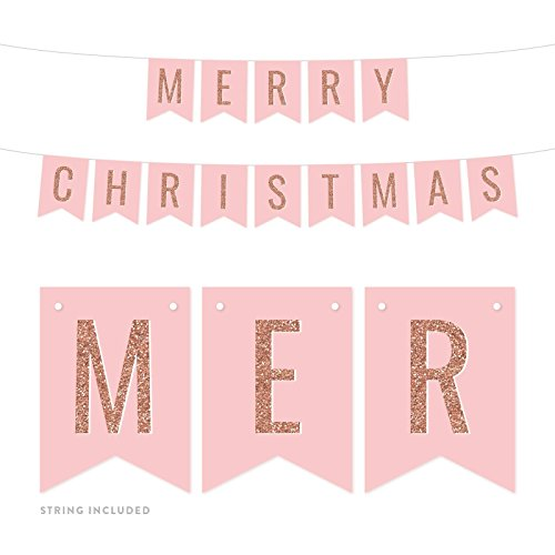 Andaz Press Blush Pink with Faux Rose Gold Glitter Party Banner Decorations, Merry Christmas, Approx 5-Feet, 1-Set, Colored Hanging Pennant Decor Supplies