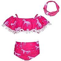 MHJY Traje de baño para niña de 2 piezas traje de baño Bikini Tankini conjunto de ropa de playa trajes de baño con diadema -  Rosa -  4-5 años