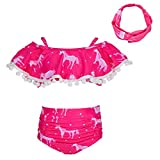 MHJY Girl Swimsuit 2-Piece Swimwear Bikini Tankini Set Beachwear Bathing Suits with Headband,5-6 Years,Hotpink...