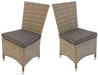 Edenjardi Pack 2 sillas de Exterior con faldón, Tamaño: 48x58x95 cm, Aluminio y rattán sintético Color Gris, Cojín Antracita