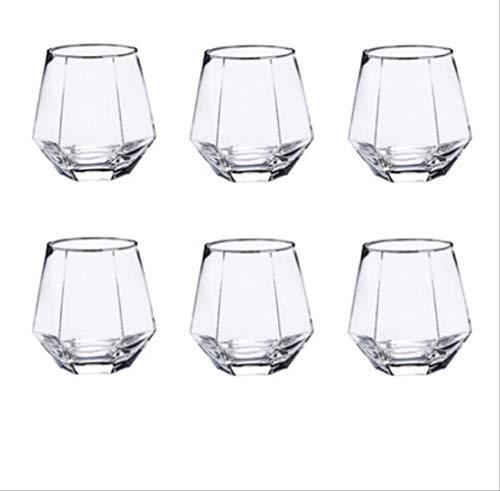 Geometrische glas glas zilver kant huishouden transparante drinken kopje thee kopje Whiskey Cup 6 pakketten