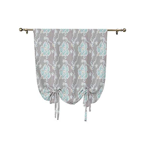 Floral Tie Up Window Shade,Abstract Design Lace Background Victorian Inspired Image Vintage Soft Colors Thermal Insulated Blackout Window Curtain,31x47 Inch,for Home Windows Grey Seafoam Tan